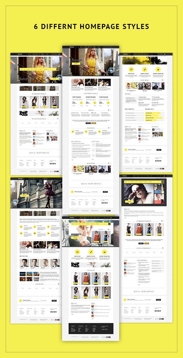 6 different home page styles Precise | Multipurpose Responsive Magento Theme